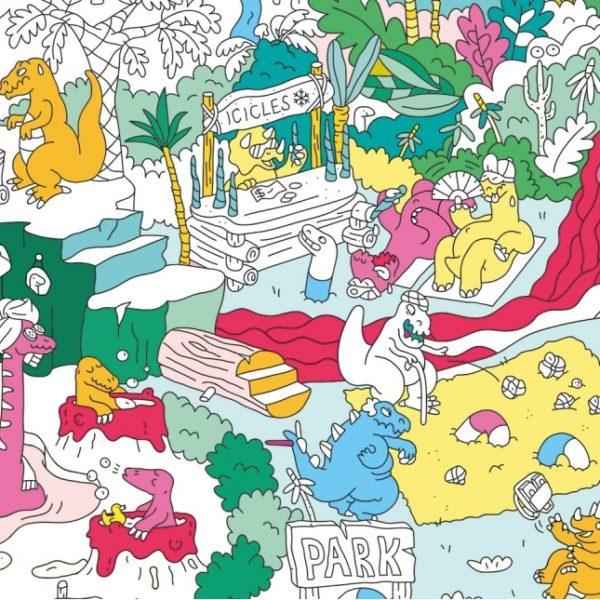 Poster géant à colorier Dinos